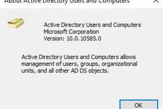 Windows 10 Active Directory Users and Computers Tab Sorunu