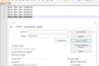 Notepad++ Satır Başına / Sonuna Ekleme Yapmak